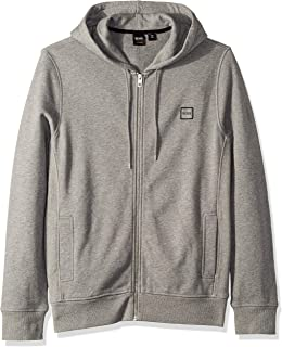 BOSS Orange Men's Znacks Hooded Sweatshirt Jacket with Woven Logo Patch