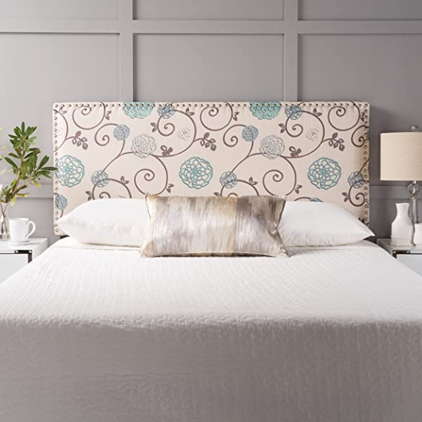GDFStudio 300294 Halifax Fabric Queen Full Headboard Blue White Floral Blue White
