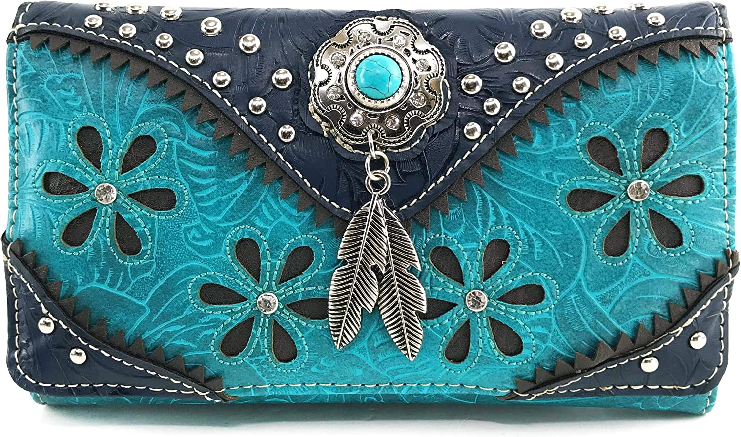 Zelris Floral Western Pu Tooled Turquoise Feather Concho At the price Leather Excellent