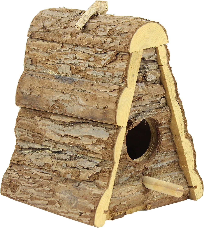 Gardirect Wild Bird House Natural Wooden Triangle Bird Nesting Box