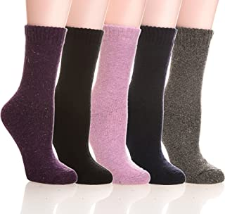 Womens 5 Pairs Thick Soft Solid Color Knit Wool Warm Crew Winter Socks