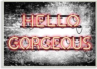 Stupell Industries Fashioner Hello Gorgeous Neon Light Watercolor, Design By Artist Amanda Greenwood Wall Art, 13 x 19, Wo...