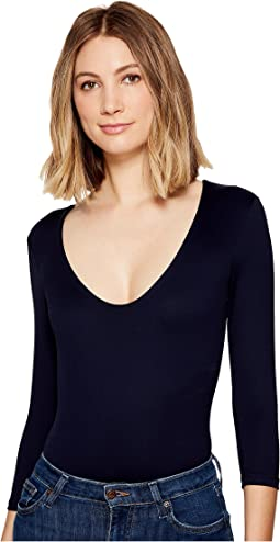 Delicious 3/4 Sleeve V-Neck Bodysuit