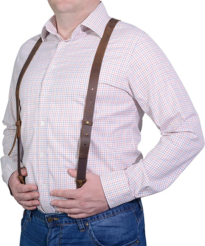Men's Vintage Style Suspenders Braces Leather Suspenders - for Men and Women - Best for Gift and Wedding - by GE MARK  AT vintagedancer.com