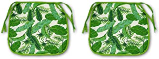 Set of 2 Palm Tree Leaves Print Design Chair Cushion Pads (Bar Stool Kitchen Home Decor)