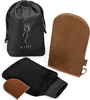 Deluxe Self Tanning Applicator Mitt Kit (3 Gloves) Large Double Sided Body Glove, Small Face Mitt, Exfoliating Tan Remover...