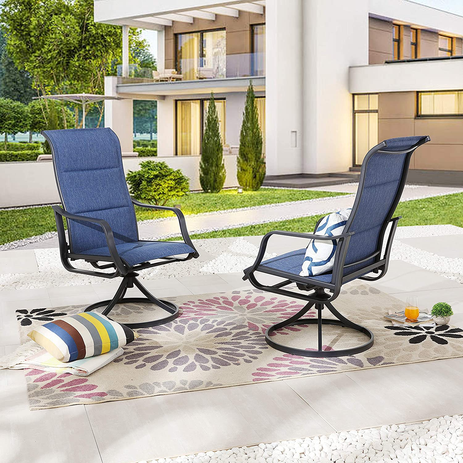 LOKATSE HOME Patio Dining Swivel Set of 2 Outdoor Textilene Fabric Chair with Metal Frame, Blue