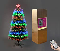 4ft/120cm Jupiter Star Pre-Lit Fibre Optic Christmas Tree Bluetooth Smartphone Operated 8 Functions Timer Music & Lights S...