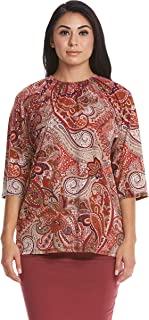 Women's Tunic Top - Ruched Neck - Modest – Loose Fitting - 3/4 Sleeve - Jasmine