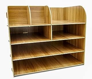 Desktop Organizer Series - Monitor Stand, Riser, File Storage, Folder Sorter (Storage Shelf, Wood Grain)