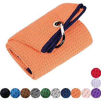 Mile High Life Tri-fold Golf Towel   Premium Microfiber Fabric   Waffle Pattern   Heavy Duty Carabiner Clip   14 Color Options