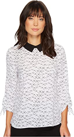 CeCe - Tie Sleeve Danity Bows Collared Blouse