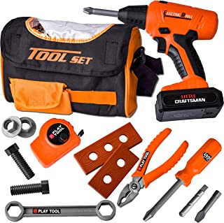 JOYIN 15 PC Sling Bag Construction Tool Toy Set Includes 1 Tool Bag, 1 Power Drill with 3 bits, 1 Tape Measure, and Variou...
