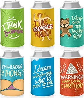 Beer and Soda Can Sleeves: Set of 6 Neoprene Beverage Coolers. Insulated Can & Bottle Covers. Funny Gag Gifts For Men and Women, Bachelor Stag Parties, Wedding Party Supplies, Bridal Shower.