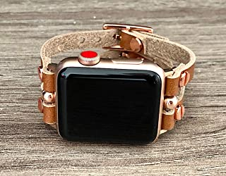 Light Brown Leather Band for Apple Watch 38-40mm 42-44mm Case Handmade Double Strap Cuff Design iWatch Bracelet Pink Rose Gold Women Jewelry Watchband