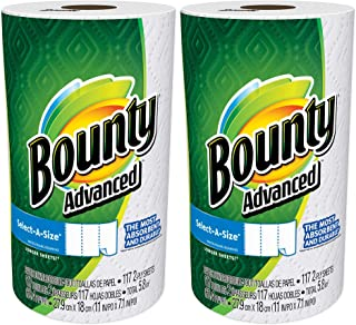 Bounty Advanced Select-A-Size, 2 x More Absorbent Paper Towels Roll, 11 x 7.1-inches, White (234 Sheets)