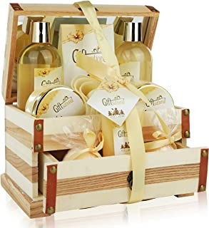 Spa Gift Basket Refreshing Rose & Jasmine Fragrance, Beautiful Wooden Gift Box with Mirror, Perfect Mothers day, Birthday or Anniversary Gift, Bath gift Set Includes Shower Gel, Bath Bombs and More