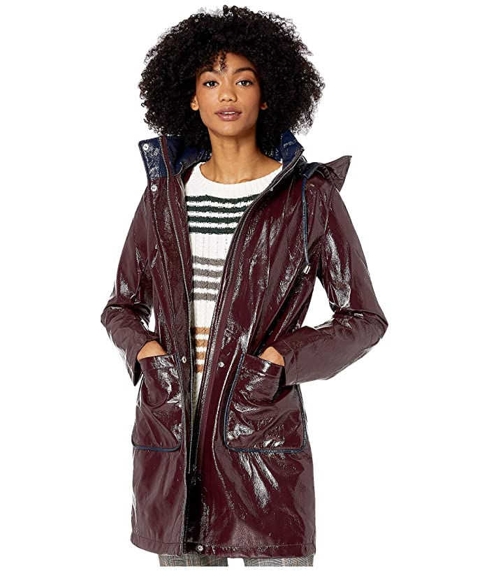 Sam Edelman  3/4 Hooded Slicker (Burgundy) Womens Coat