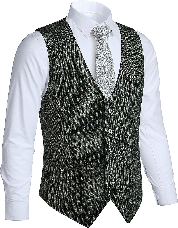 HISDERN Men's Tweed Wool Suit cheap Special sale item Vest Herri Premium Slim Formal Fit