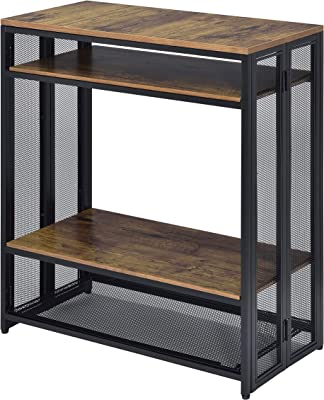 Benjara Metal Sofa Table with Wooden Shelves and Folding Side, Black and Brown