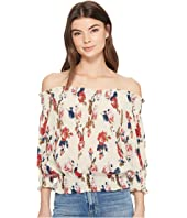 ROMEO & JULIET COUTURE - Off the Shoulder Floral Chiffon Top