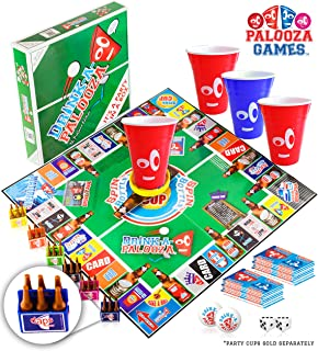 DRINK-A-PALOOZA Board Game: Fun Drinking Games for Adults & Game Night Party Games | Adult Games Combo of Pong + Flip Cup + Kings Cup Card Games + More!