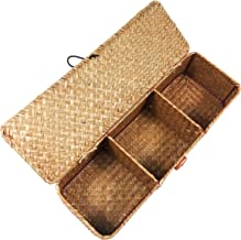 LA Hand-Woven Seagrass Storage Rectangular Basket and Home Organizer Bins,Natural Water Hyacinth Basket (Brown with lid)
