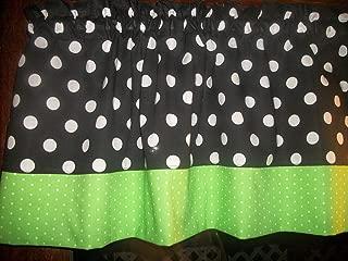Black Green Polka Dot hello kitty minnie mouse fabric kitchen decor window treatment topper curtain Valance