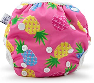Large Nageuret Reusable Swim Diaper, Adjustable & Stylish Fits Diaper Sizes 4-6 (30-45lbs) Ultra Premium Quality for Eco-Friendly & Swimming Lessons (Pink Pineapples)