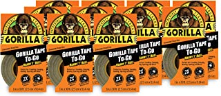 """Gorilla Tape, Black Duct Tape To-Go, 1"""" x 10 yd, Black, (Pack of 11)"""