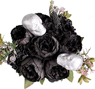 Jim`s Cabin Artificial Flowers Silk Peony Black Peonies Flowers Bouquet Floral Plants for Home Party Halloween Decor (Black)