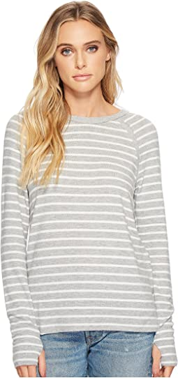Michael Stars Madison Brushed Stripe Scoop Neck Long Sleeve Top