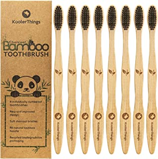 8 Pack - Biodegradable Natural Charcoal Bamboo Toothbrushes (Two Packs of 4 | BPA Free Soft Bristles | Biodegradable, Compostable, Eco Friendly, Natural, Organic, Vegan, Kooler-Things