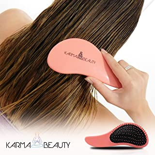 Detangler Brush | for Wet, Dry, Curly, Thick, Wavy Hair | No Pain | for Adult & Kids | Karma Beauty | (peach)