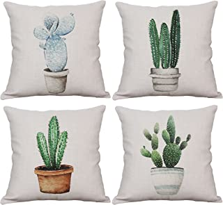 YeeJu Set of 4 Cactus Throw Pillow Covers Decorative Cotton Linen Cushion Covers Square Outdoor Sofa Home Couch Pillow Covers 16x16 Inch