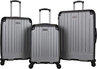 """Kenneth Cole Reaction Flying Axis Lightweight Hardside 3-Piece 20""""/24""""/28"""" Expandable 8-Wheel Spinner Luggage Set, Silver"""