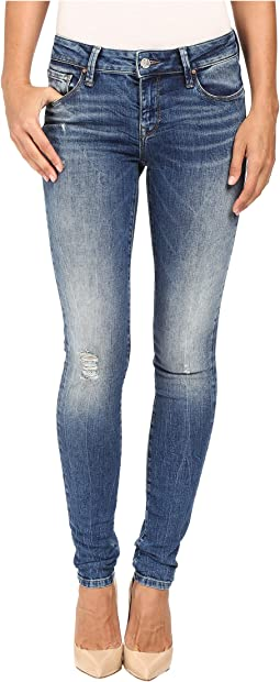 Adriana Mid-Rise Super Skinny in Mid Destructed Vintage
