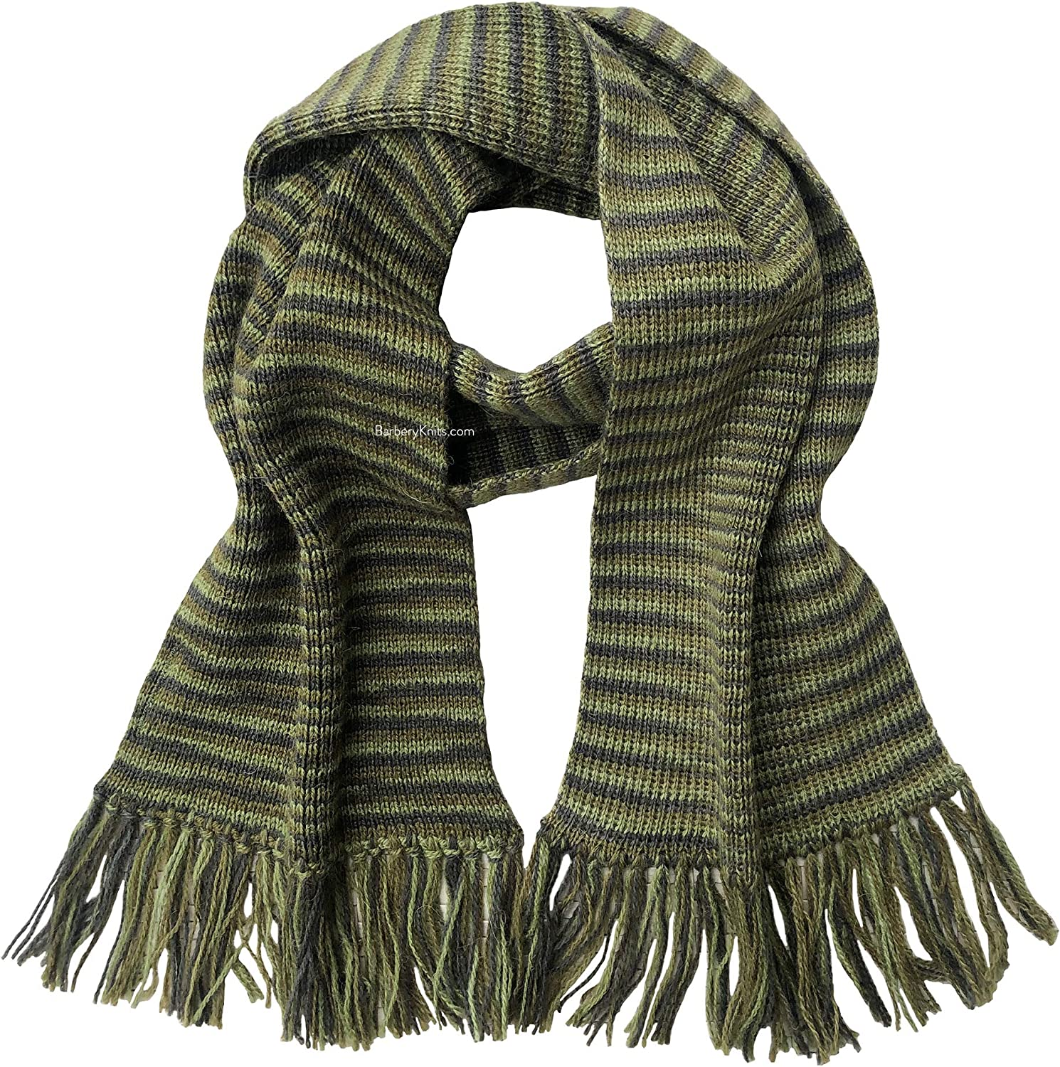 Alpaca and Wool Lightweight Scarf in Olive Stripes - Design Name: Boise (Ready to Ship from France)