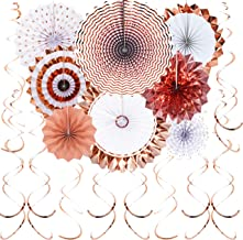 JUICY MOOM Rose Gold Hanging Paper Fans Decorations - Swirls Ceiling Hangings Decorations Wedding Bachelorette Party Baby Shower Birthday Photo Booth Props Backdrops Decorations, 20pc