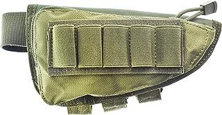 Risunpet Buttstock Ammo Holder Pouch Tactical Shell Holder for Shotgun Rifle Cheek Rest Pouch(Army Green)