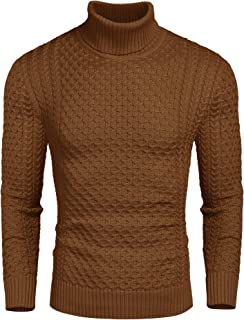 JINIDU Men's Turtleneck Pullover, Slim Fit, Casual, Knitted Twisted Pullover, Solid Pullover