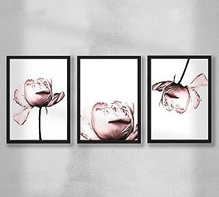 Decorazione da parete - Set di poster premium da parete per soggiorno, formato A4, senza cornice, 3x peonia