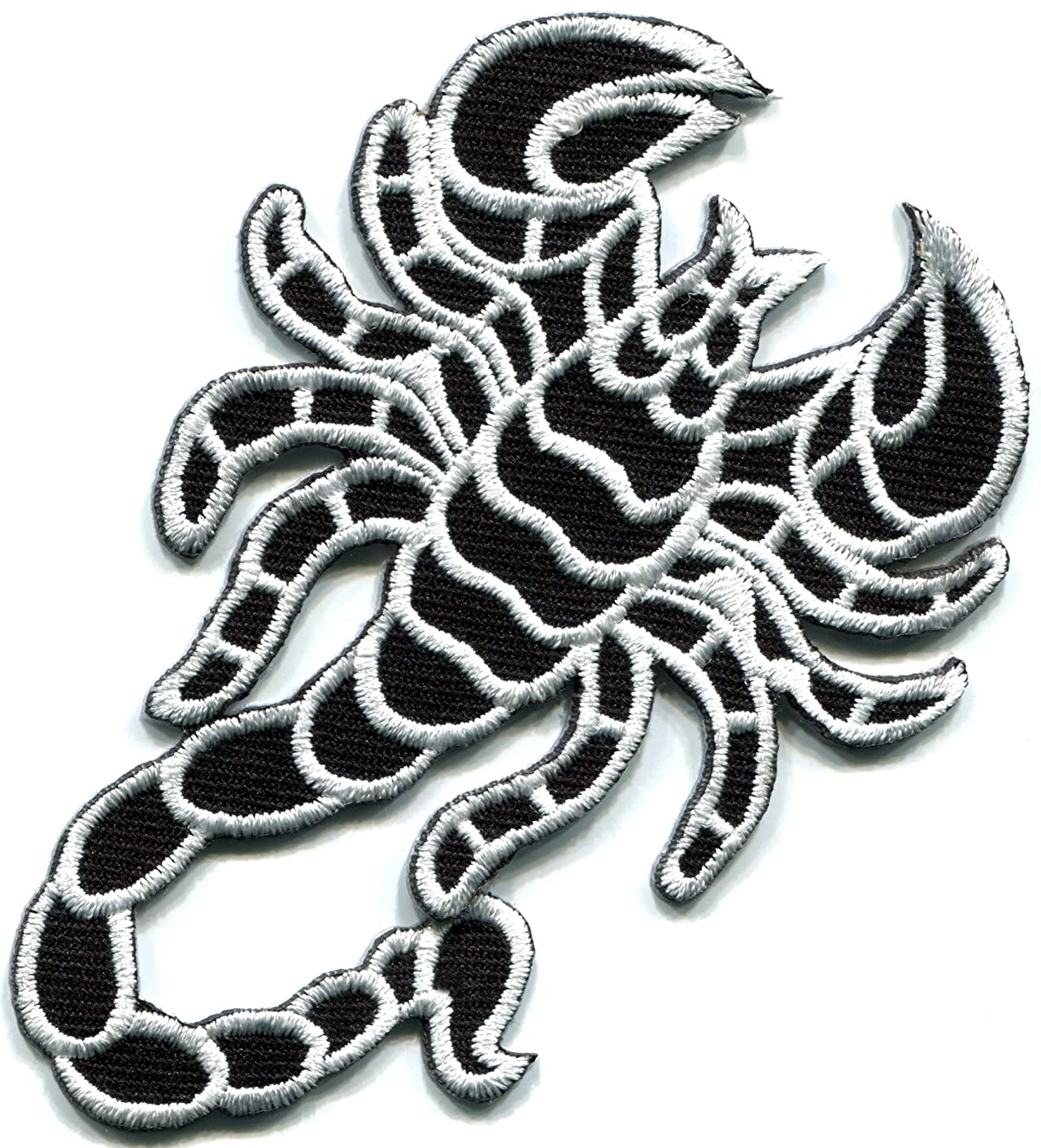 White Scorpion tattoo biker embroidered applique iron-on patch new