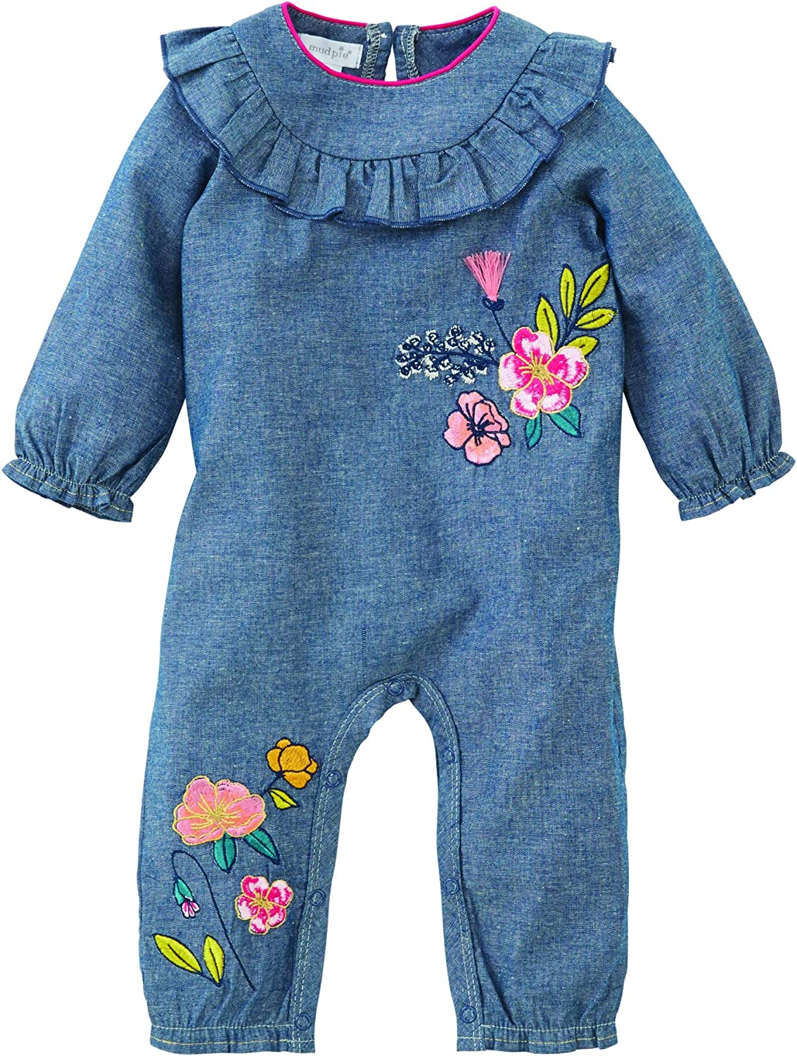 Mud Pie Fall Floral Chambray Piece Manufacturer regenerated product One Ruffle 12M Multicoloured Ranking TOP12