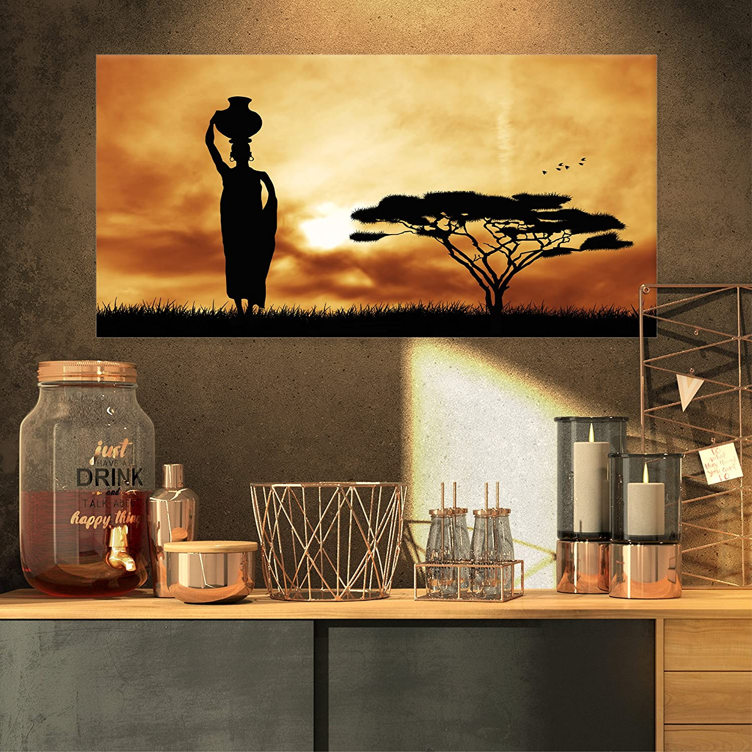 Designart PT12979-32-16 Woman and Lonely Tree-Extra Large African Landscape Canvas Art, 32x16