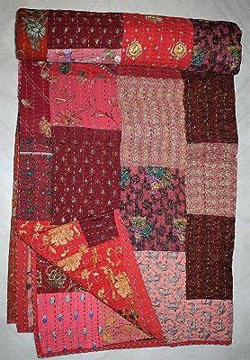Reversible Antique Quilt  Vintage Kantha Throw Patchwork Kantha Quilt Coverlet