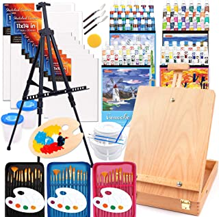 170 Pcs Artist Painting Set, Shuttle Art Deluxe Art Set with Paint, Aluminum and Wooden Easels, Canvas, Paper Pads, Brushe...