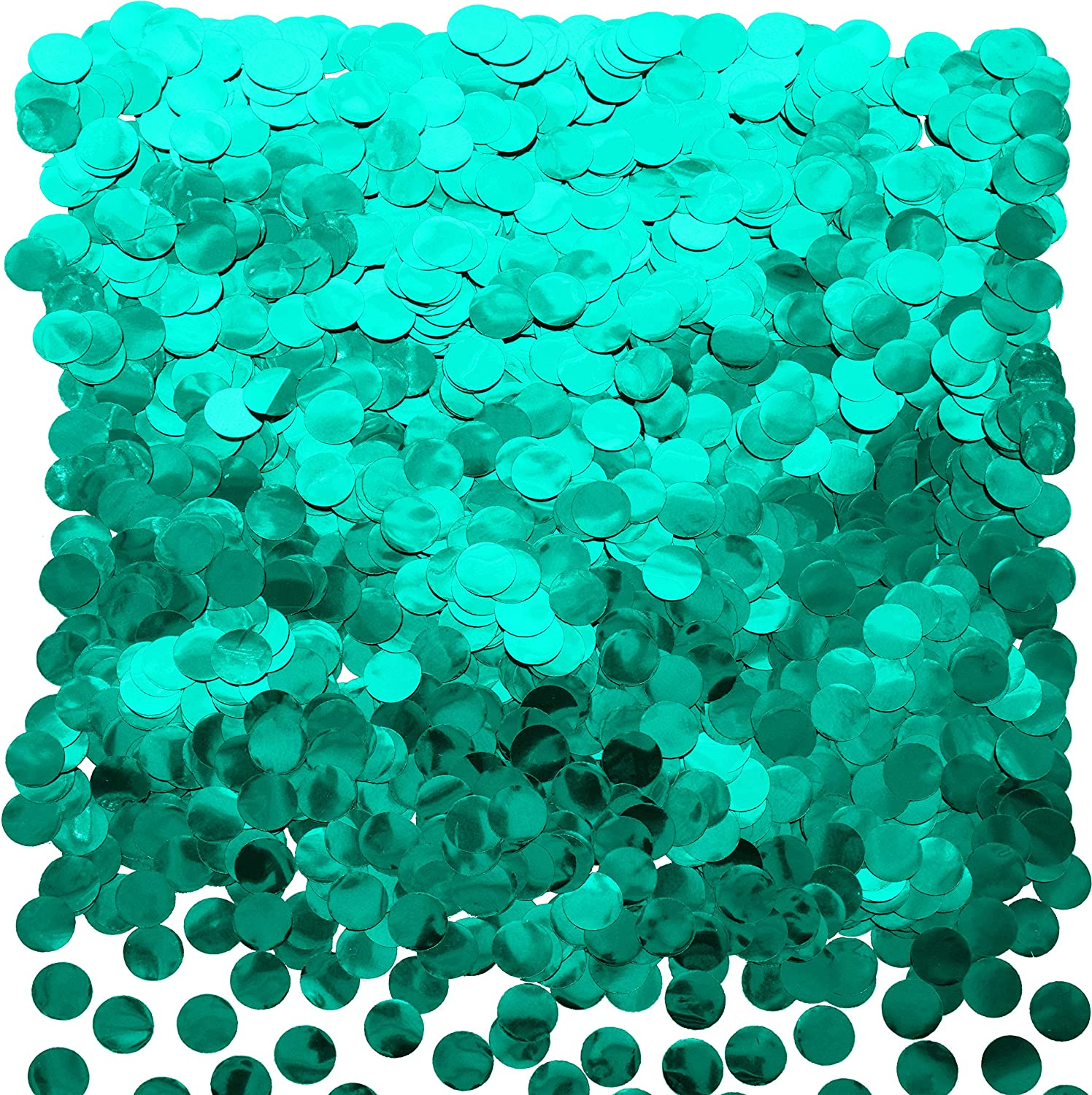 Teal Blue Foil Metallic Round Table Confetti Decor Circle Dots Mylar Table Scatter Confetti Under the Sea Birthday Baby Shower Summer Pool Beach Wedding Bachelorette Party Confetti Decorations, 60g