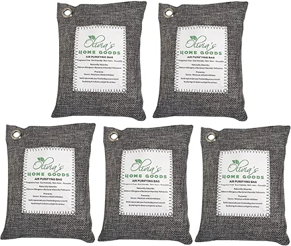 OLIVIA AIDEN 5 Pack Large 200g Bags Activated Bamboo Charcoal All Natural Air Freshener Eco Friendly Odor Eliminator And Moisture Absorber Car Deodorizer Closet And Room Air Purifier