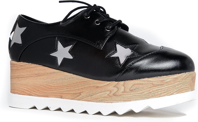 J. Adams Elevate Platform Oxfords - Flatform Chunky Creeper Wood Lace Up Sneaker